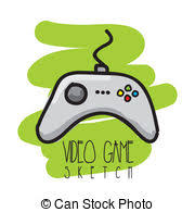vector clip art of video game controller sketch doodle style