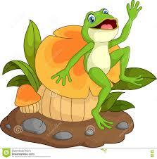 happy frog cartoon sitting on mushroom stock vector image 72172665