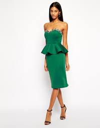 asos bandeau embellished midi peplum dress in green lyst