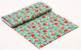 fox ribbon sea green fox with glasses ribbon fabric robert kaufman