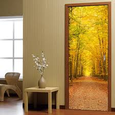 wooden leaves wall autumn leaves scenery 3d door stickers living room bedroom wall