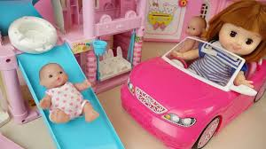 pink toddler car baby doll slide play house and pink car toys youtube