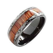 wood inlay wedding band 8mm tungsten carbide ring koa wood inlay dome edge comfort fit