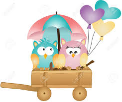 owls in spring rain royalty free cliparts vectors and stock