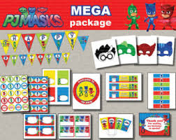 instant dl pj masks birthday party package kit foxisgone