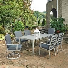 Aluminum Patio Dining Sets - home styles south beach grey 7 piece rectangular extruded aluminum