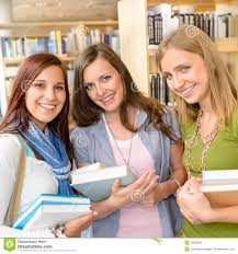 classmates books high school classmates with library books stock photo image