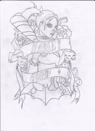 Card Tattoos Designs Harley Quinn Tattoo Design Outline By Twistedsensibility