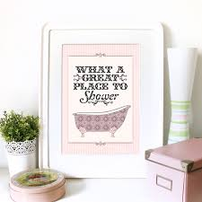 vintage art poster print for bathroom with typography and
