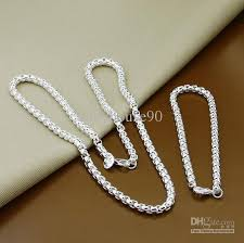 necklace silver online images 2018 men 925 silver jewelry sets snake chains necklace bracelet jpg