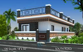 2bhk House Plans Way2nirman 100 Sq Yds 18x50 Sq Ft South Face House 2bhk Elevation