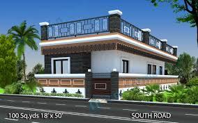 way2nirman 100 sq yds 18x50 sq ft south face house 2bhk elevation