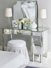 Mirrored Bed Mirrored Bedroom Vanity With Table Lamps And Round Backless Stool