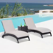 Good Rattan Specification Outsunny 3 Pcs Rattan Sun Lounger Set Brown Light Coffee Aosom Co Uk