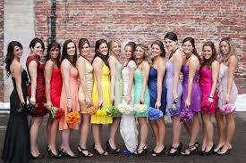 should all bridesmaids dresses be the same or same in color or