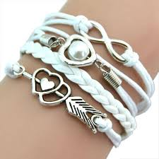 infinity charm leather bracelet images Love hearts pearl infinity multilayer charm leather bracelets gift jpg