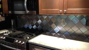 Stainless Steel Backsplash Kitchen by Customer Photo Diy Kitchen Remodel On Point Square Tile