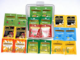 assorted twinings tea bags enveloped sachets in plastic