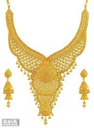 gold bridal set 22k necklace set big 22k gold big necklace and earrings set