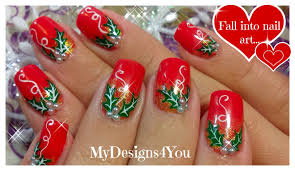christmas nail art red holly christmas nails рождественский