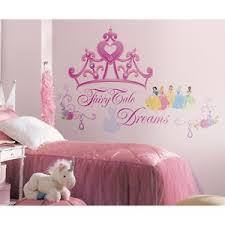 disney princess crown wall mural stickers girls pink tiara decals