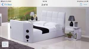 double black or brown leather tv bed with built in bluetooth
