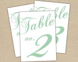 mint table numbers etsy