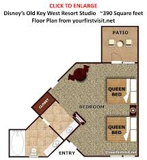 old key west 1 bedroom villa floor plan with accommodations and