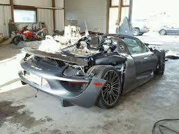 porsche 918 porsche 918 spyder turns up at salvage auction
