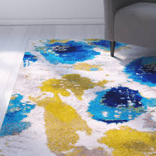 Abstract Area Rugs Rugs Curtains Contemporary Blue Yellow And White Abstract Area