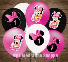 instant download pink baby minnie mouse balloon stickers age 1