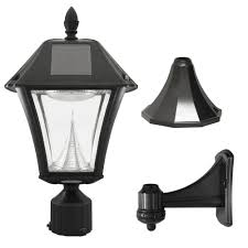 gama sonic baytown ii outdoor black resin solar post wall light
