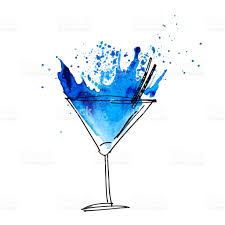 martini splash blue cocktail splash watercolor illustration paint artwork stock