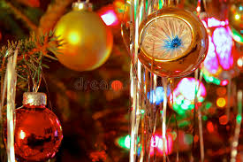kitsch 70s style decorated christmas tree stock photo image