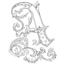 ornamental alphabet coloring pages floral alphabet letter coloring