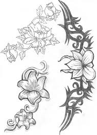 traditional uncolored flower tattoo designs for boys picsmine