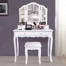 coiffeuse blanche si e avec miroir inclus rocambolesk superbe grande coiffeuse table de maquillage style