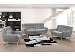 fauteuil et canapé canapé fixe 3 places rihanna gris clair