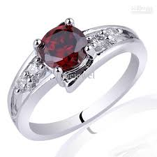 red silver rings images 2018 6mm round stone promise ring red garnet 925 sterling silver jpg