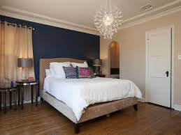 bedroom dark blue wall accent with burlywood color base