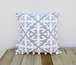 christmas pillow cover moroccan print white pompom lace 100