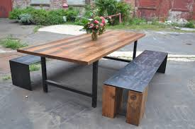 reclaimed wood dining table nyc reclaimed oak wood h frame dining table dining room pinterest