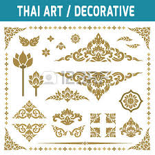 set of thai element for decorative motifs ethnic gold