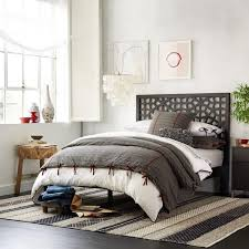 Platform Bed With Headboard Farmhouse Style Bedroom Furniture White Accent Wall Upholstered