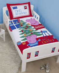 peppa pig and george pig christmas tree junior duvet cover set