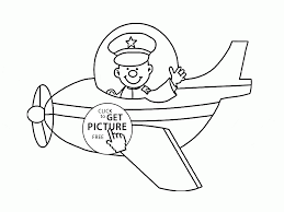 airplane and happy pilot coloring page for toddlers