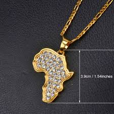 necklace silver gold images Anniyo 9 style africa map pendant necklace for women men silver jpg
