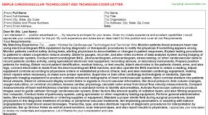 cardiovascular technologist and technician cover letter