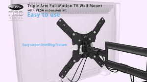 Tv Wall Mount Extension Ross Lnlta200e Neo Series Triple Arm Full Motion Tv Wall Mount