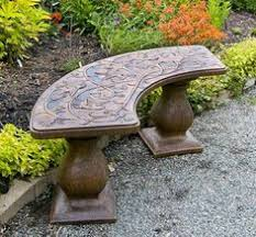 Concrete Curved Bench - traditional colonial bench curved concrete furniture garden